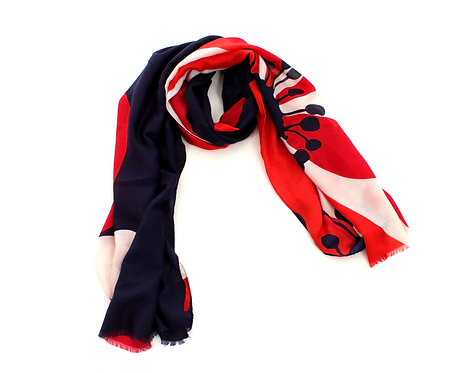 Flower Scarf Navy, Red and White