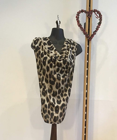 Large Print Leopard Stretch Blouse