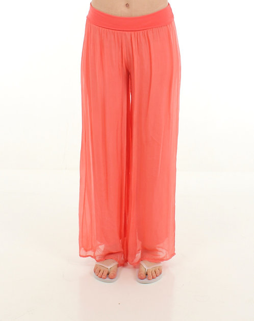 Silk Trousers Coral