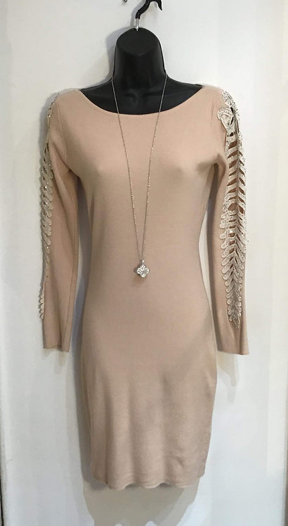 Cut Out Sleeve Knitted Dress