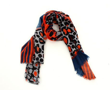 Animal Print Scarf Orange, Blue and Grey
