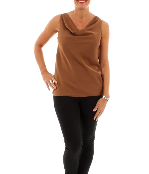 Golden Caramel Sleeveless Cowl Neck Top