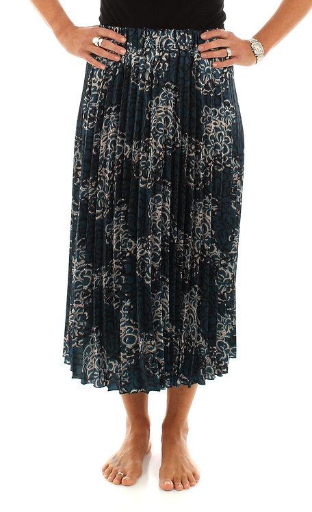 Deep Sea Floral Pleated Skirt