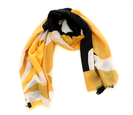 Floral Scarf Black, White and Yellow