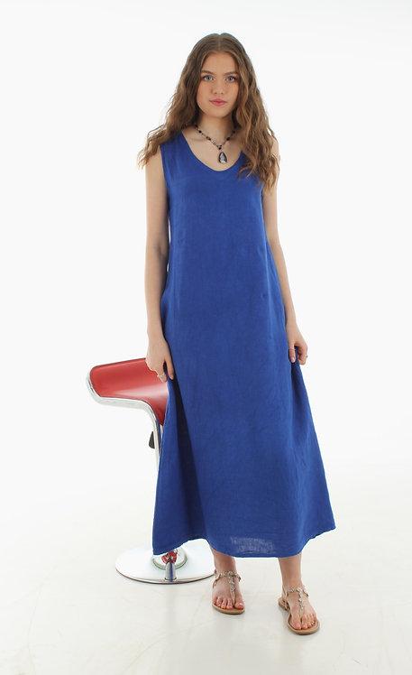 Long V Dress Royal Blue
