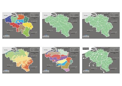 Set reliëfkaarten en legendes - Geografie België