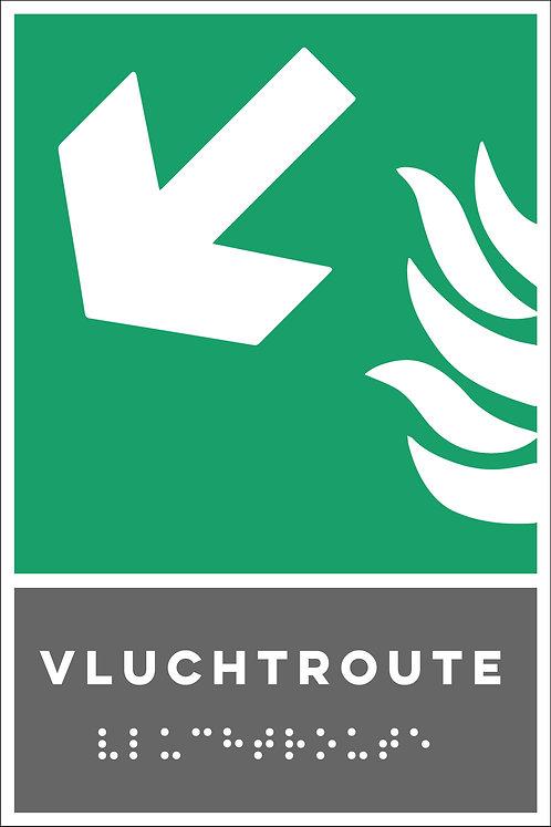 Evacuatie - Vluchtroute links onder