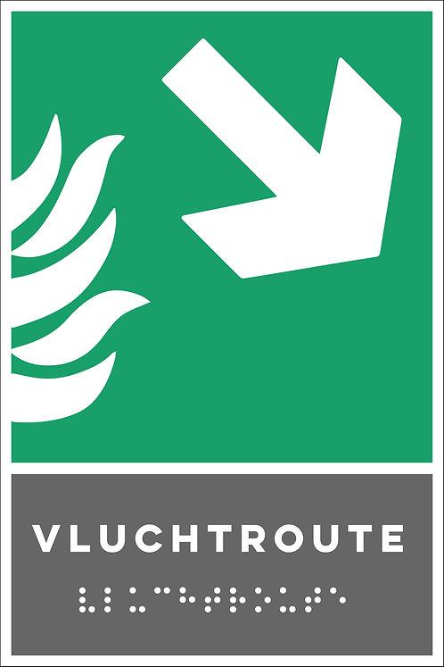Evacuatie - Vluchtroute rechts onder