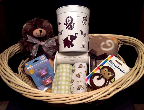 Premium Basket Jungle Animals Brown