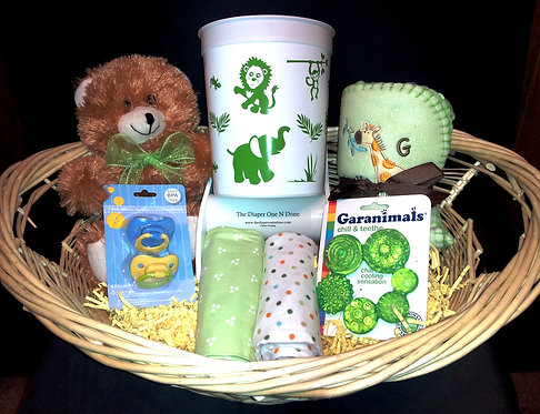 Premium Basket Jungle Animals Green