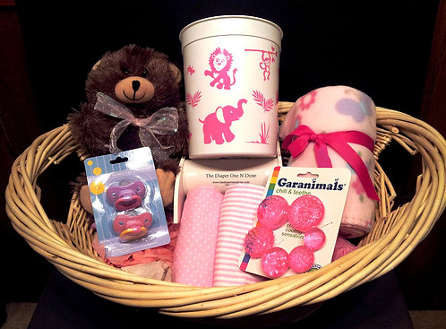 Premium Basket Jungle Animals Pink