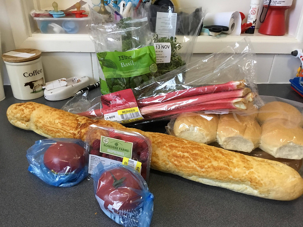 A typical food parcel