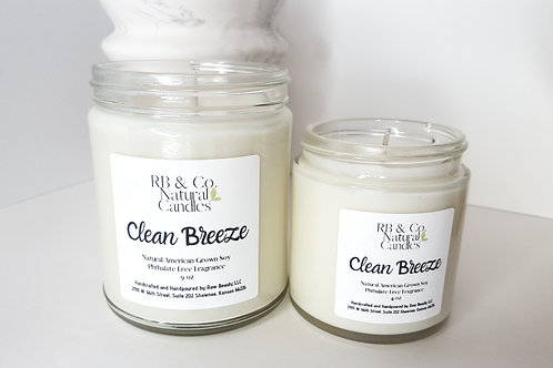 Clean Breeze Scented Natural Soy Candle   Hand-Poured and Hand-Crafted