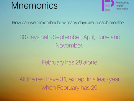 Mnemonics - How to remember how many days are in each month
