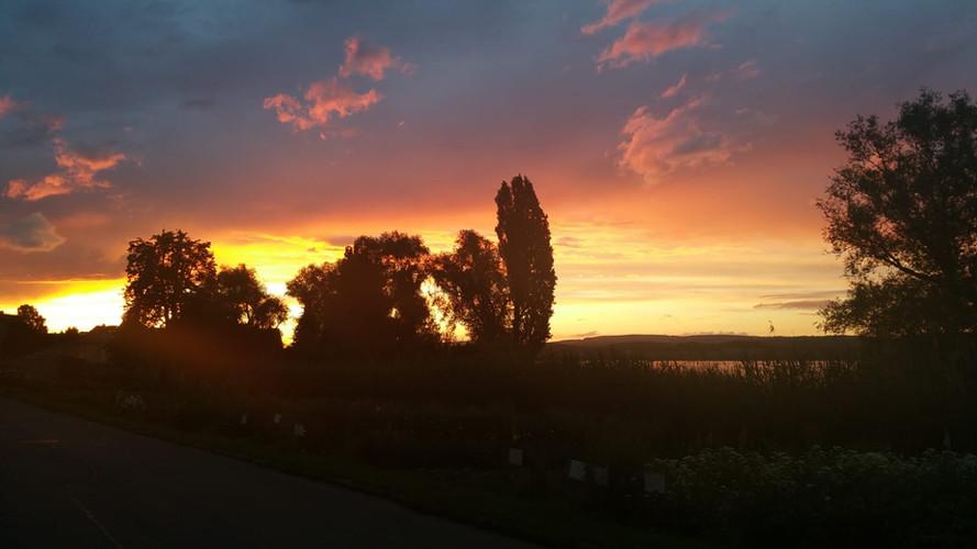"Sonnenuntergang vor ""Haus Konrad"""