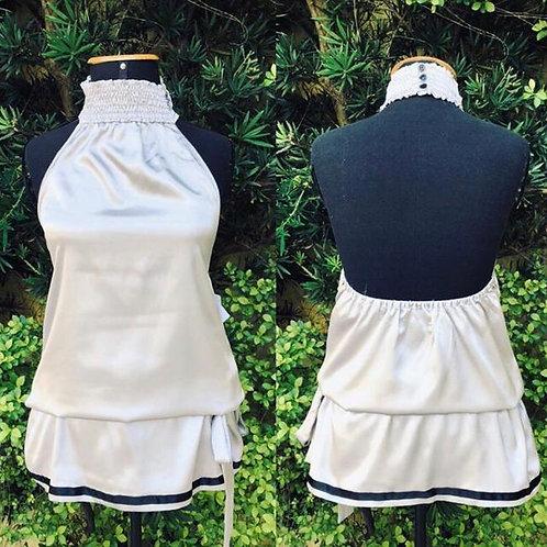 Blusinha frente única c/tecido prateado da Zara