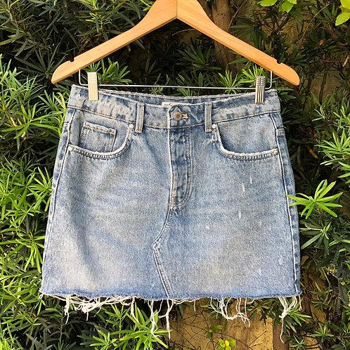 Saia jeans c/barra desfiada da Zara