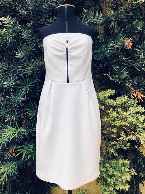 Vestido tomara que caia branco c/tecido neoprene da Practory