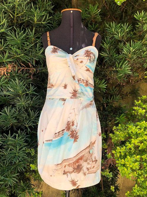 Vestido c/estampa praiana e alça de couro da Dress