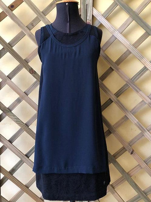 Vestido preto c/detalhe azul marinho da Herchcovitch