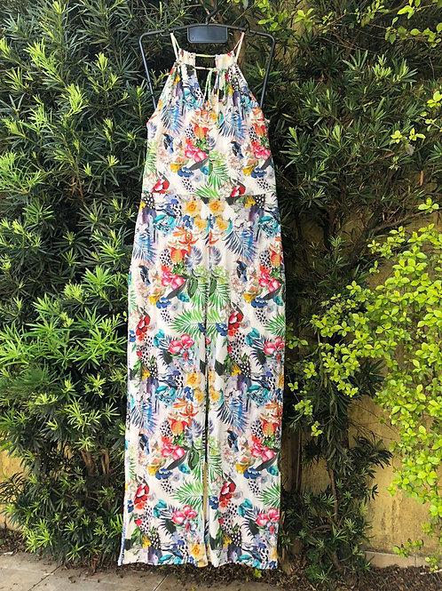 Macacão branco c/estampa de flores da Márcia Mello