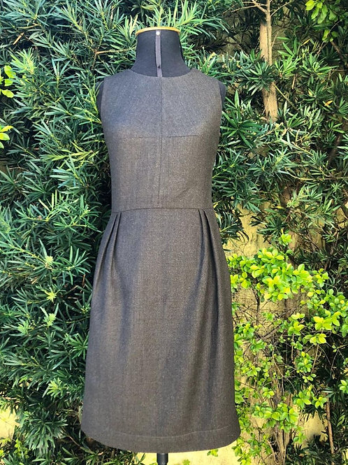 Vestido social marrom de lã da Maria Bonita