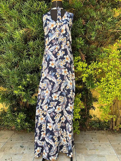 Vestido longo marinho c/estampa de flores Citie