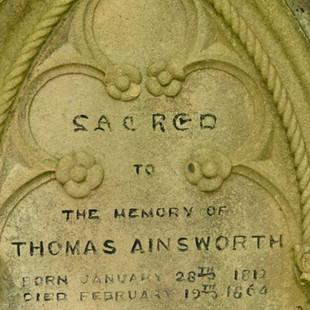 Gravestone of Thomas Ainsworth in Pioneer Cemetery, Ballina