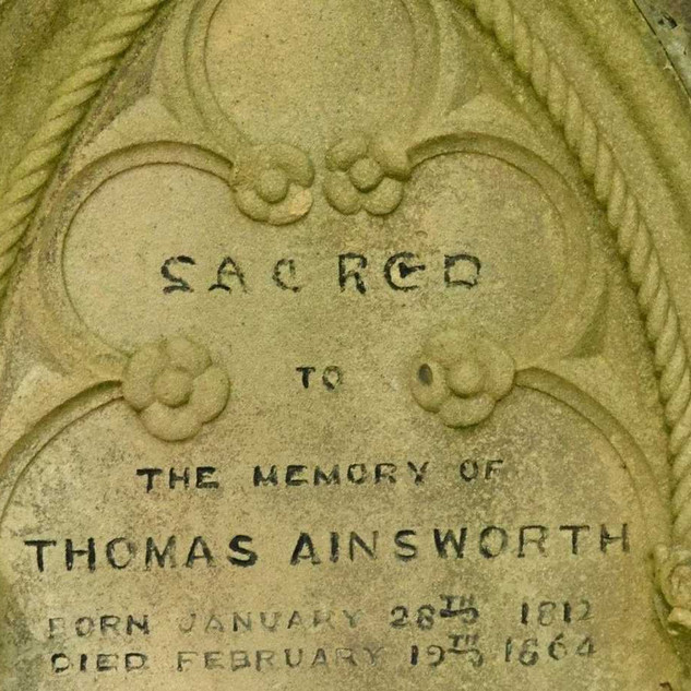 Gravestone of Thomas Ainsworth in Pioneer Cemetery, Ballina