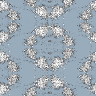 Cosmic Mums Wallpaper in Blue Fog