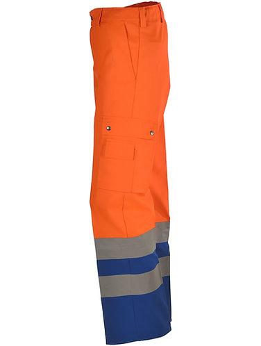 Warnschutzhose orange-blau mit Leuchtstreifen