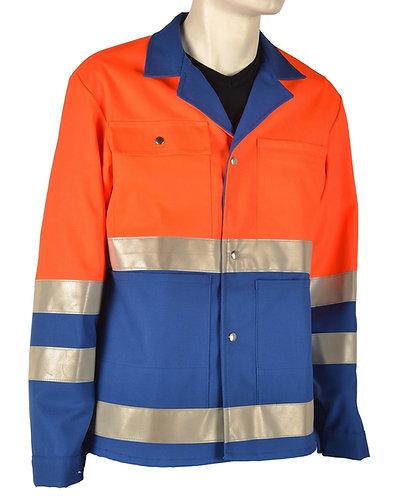 Warnschutzjacke orange-blau mit Leuchtstreifen
