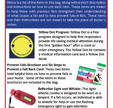 Falls Prevention Bag Rack Card Page One.