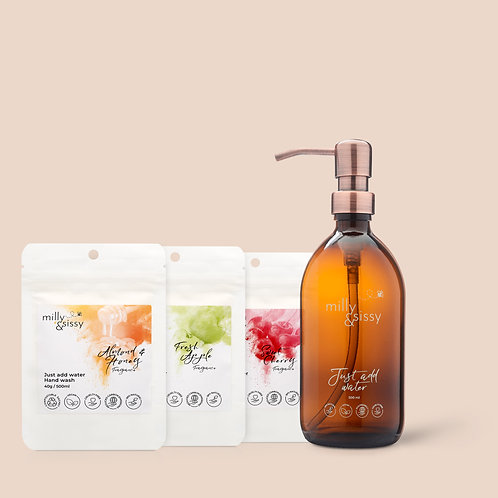 MILLY&SISSY - Hand Wash TRIO + British Made Glass Bottle with bronzed pump