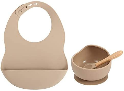 Baby 3pcs Silicone Feeding Set - Bib, Suction Weaning Bowl & Spoon