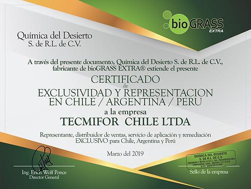 Tecmifor - Certificado Distribuidor bioG