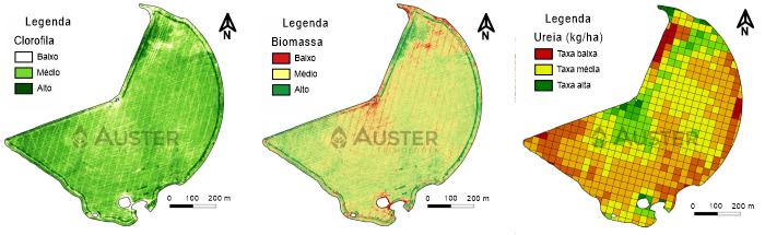 Mapas de clorofila, biomassa e de aplicação de ureia gerados com sensoriamento remoto - Auster Tecnologia