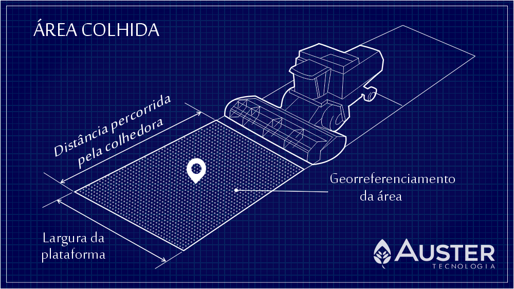 Representação esquemática da área colhida - Auster Tecnologia