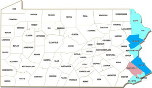 A map of the Pennsylvania counties with confirmed COVID-19 patients.