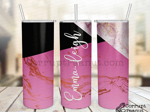 Emma-Leigh Pink 20oz steel double wall tumblers with Straw and Lid