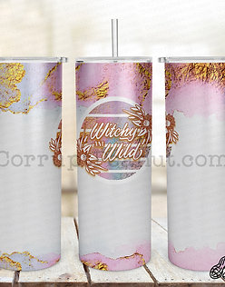 Witchy and Wild 20oz steel double wall tumblers with Straw and L