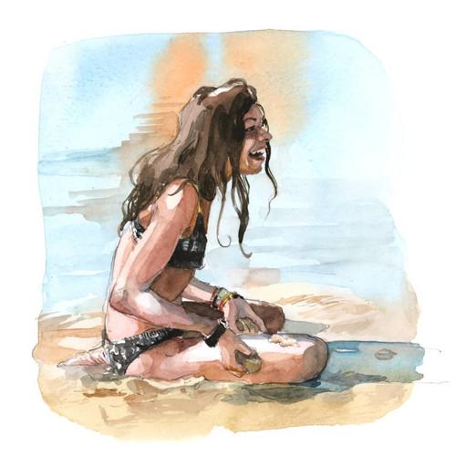 Petite fille plage