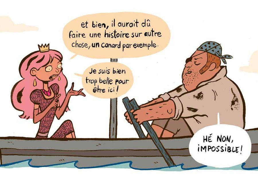 Bande dessinée - Une princesse élégant dans un bateau