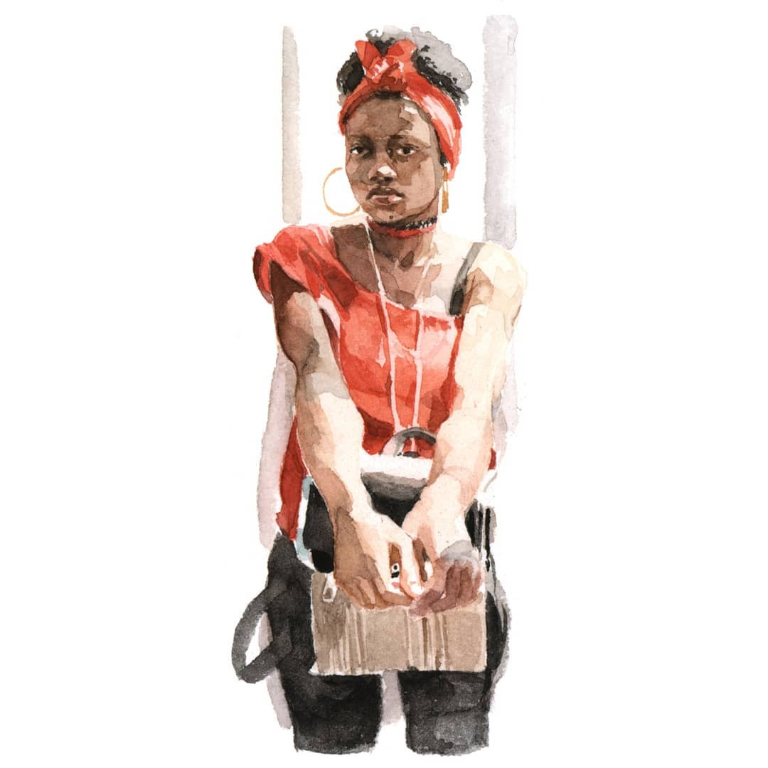 Femme dans tramway