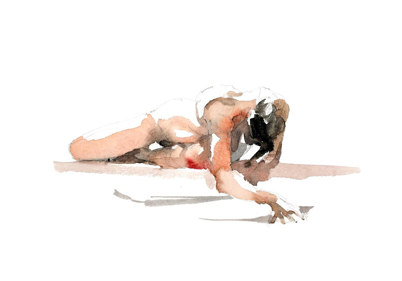 Modèle nue - Femme alongée