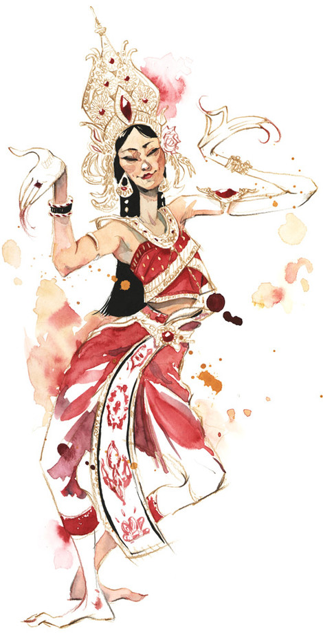 Danseuse Thailandaise Illustration Theoschu