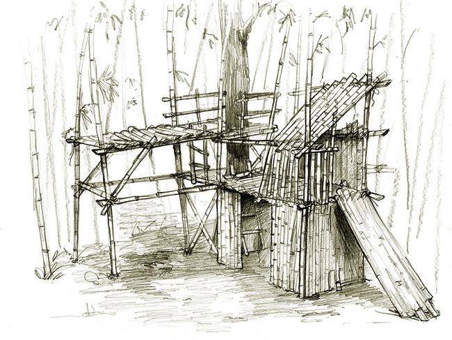 Croquis de cabane en bambou