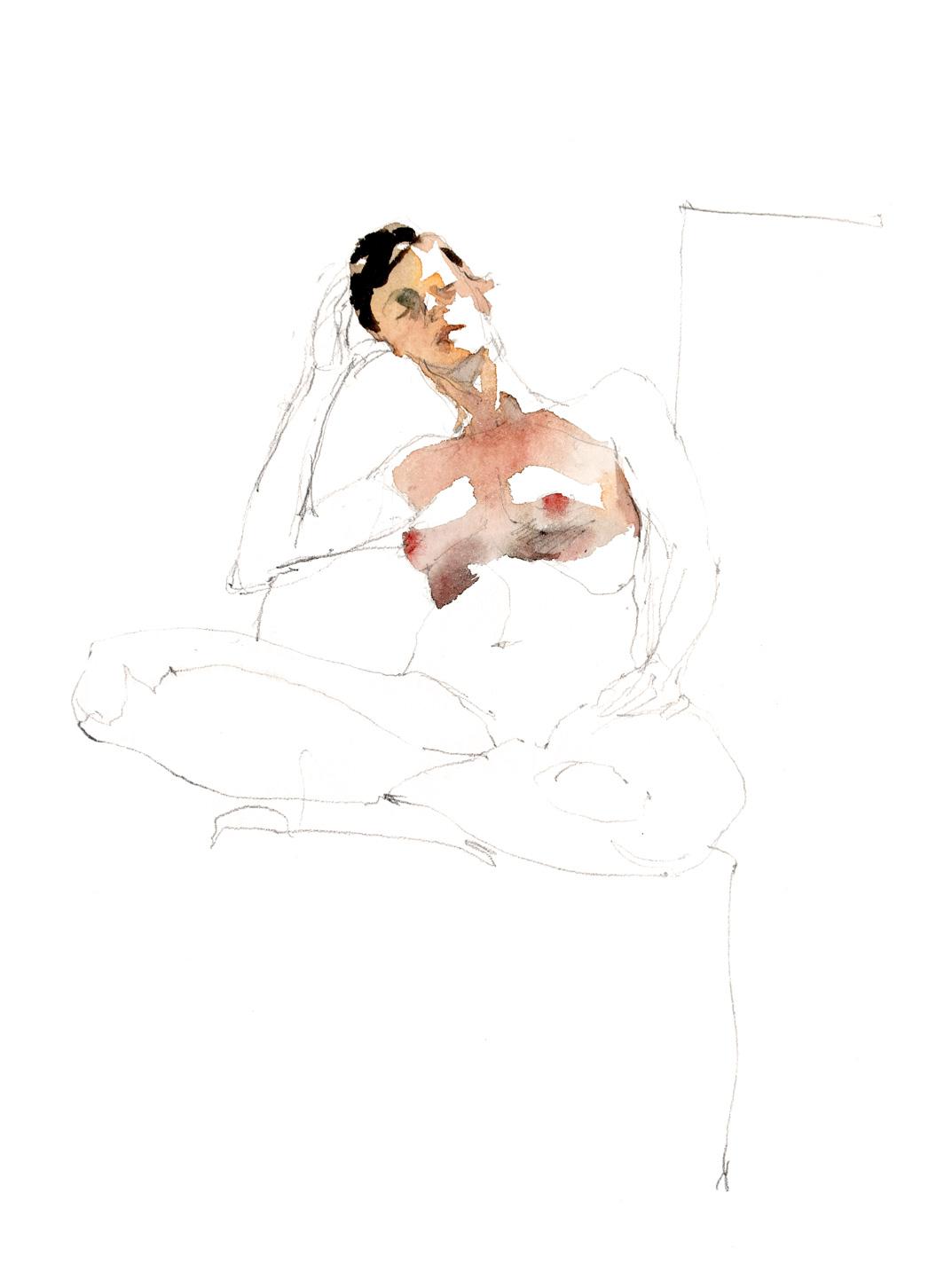 Modèle nue - Femme assise