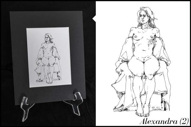 Dessin femme nue modèle vivant original vente aquarelle