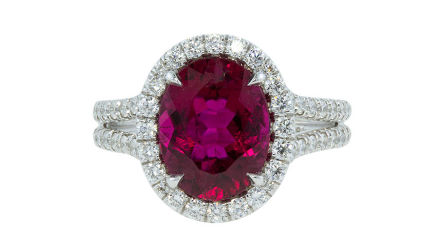 Rubelite Ring with Micropave